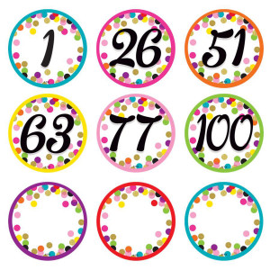 Confetti Number Cards 0-100