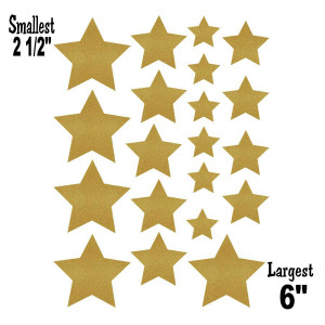 Gold Shimmer Stars Assorted Sizes CutOuts