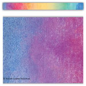 Watercolor Rainbow Straight Border