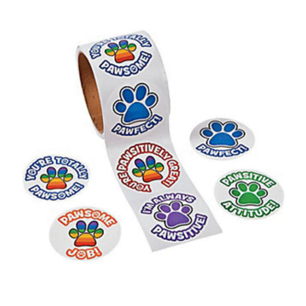 Paw Print Stickers on a Roll