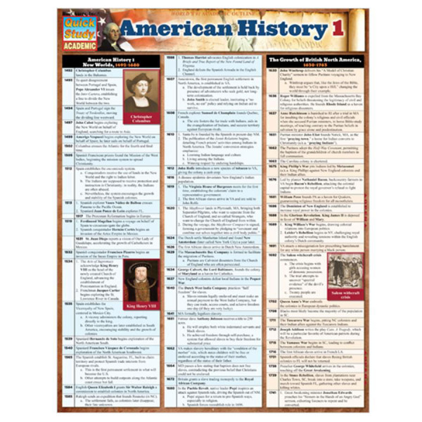 American History-1 3-Panel Laminated Guide