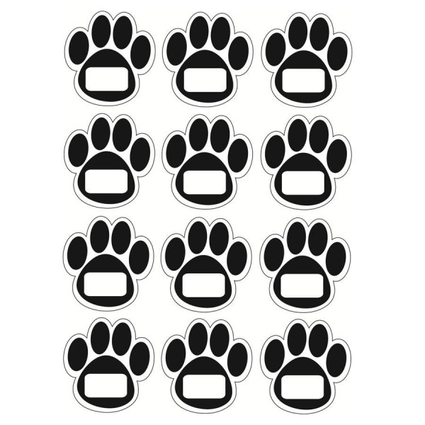 Black Paw Print Wipe-Off Magnets