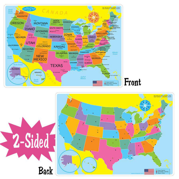 Basic Us Map Smart Poly 2 Sided Learning Mat Student Tools For