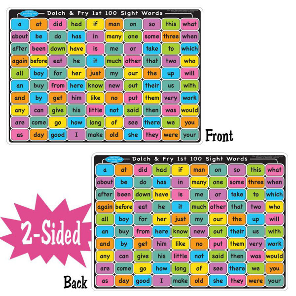Sight Words Smart Poly 2-Sided Learning Mat