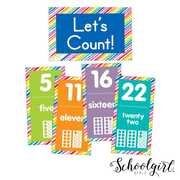 Schoolgirl Style Number Cards Bulletin Board