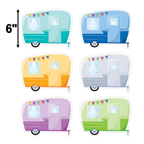 """Woodland Friends Vintage Trailers 6"""" Cut-Outs"""