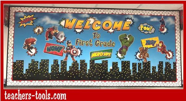 marvel superheroes cityscape bulletin board