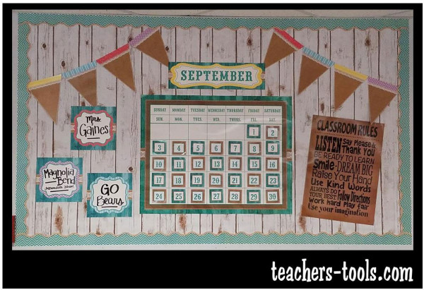 Modern Classroom Board ~ Shabby chalkboard calendar bulletin board