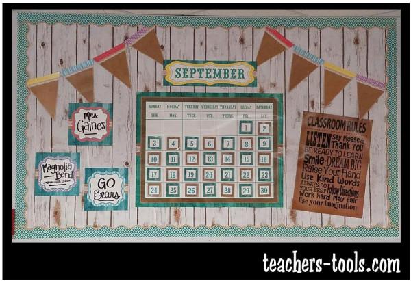 Calendar Name Ideas : Shabby chalkboard calendar bulletin board