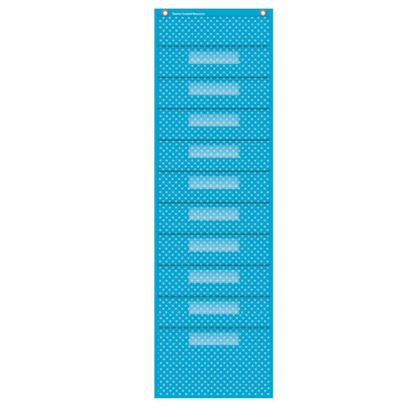 Aqua Polka Dots File Storage Pocket Chart
