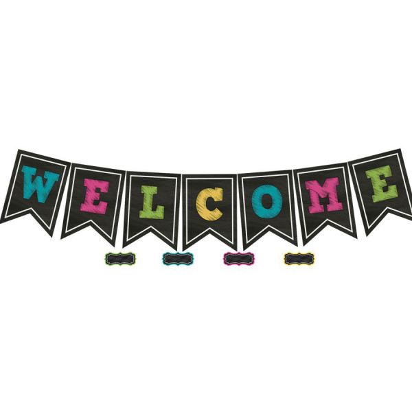 Chalkboard Brights Welcome Pennants Bulletin Board