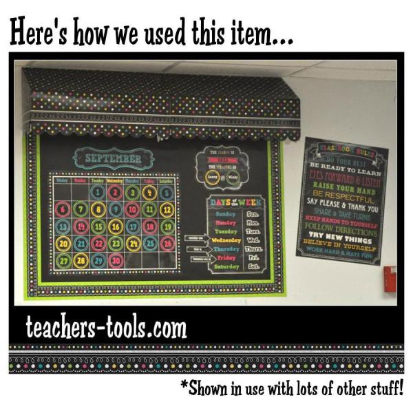 Chalkboard Brights Calendar Bulletin Board