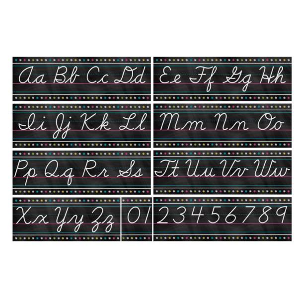 Chalkboard Brights Cursive Alphabet Bulletin Board