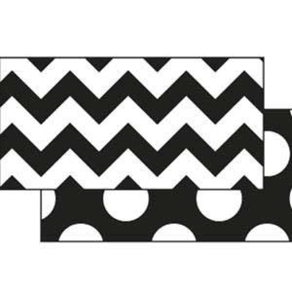 Black & White Chevron and Dots Border