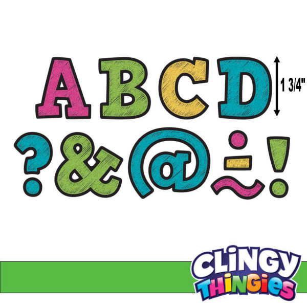 "Chalkboard Brights Clingy Thingies 1-3/4"" Letters"