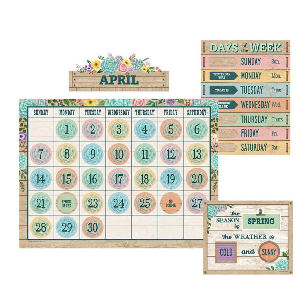 Rustic Bloom Calendar Bulletin Board