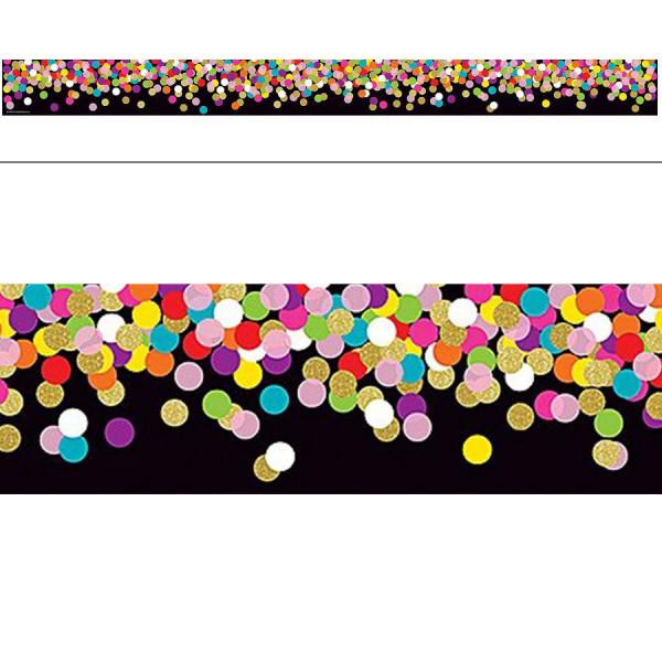 Colorful Confetti on Black Border