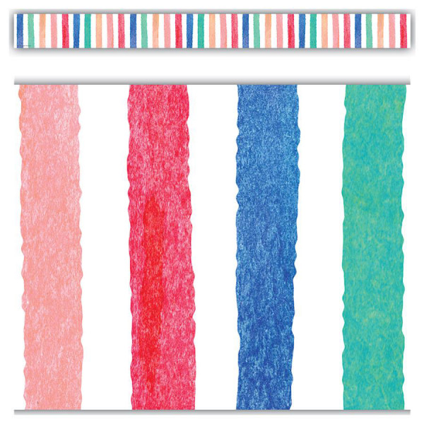 Watercolor Stripes Straight Border