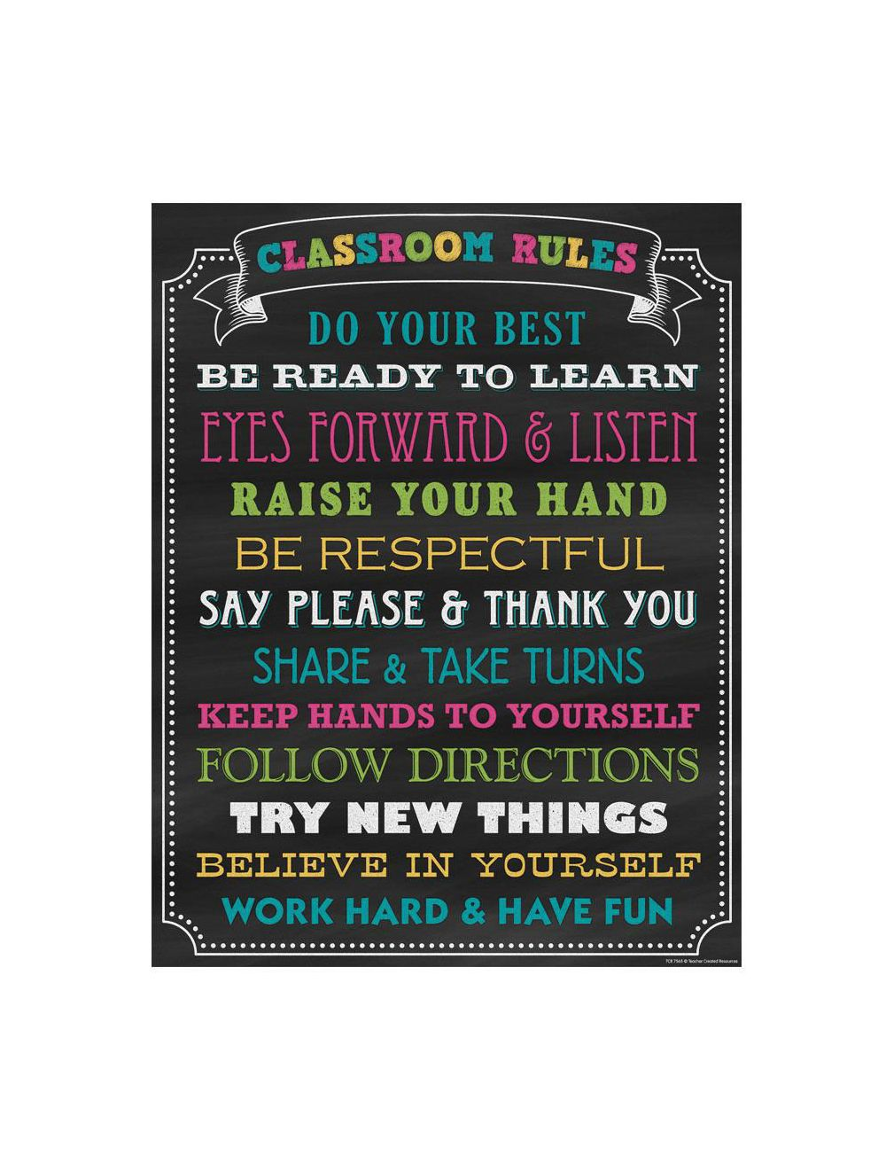 Chalkboard Brights Classroom Rules Poster