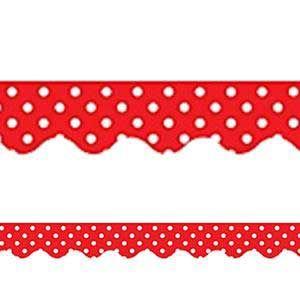 Red Polka Dots Scalloped Border