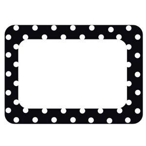 Black Polka Dots Nametags