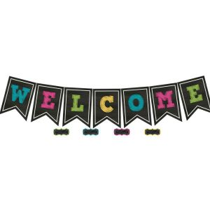 Chalkboard Brights Welcome Pennants Bulletin Board